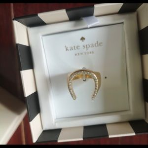 Kate Spade Wild Ones Pave Crystal Horseshoe Ring 7